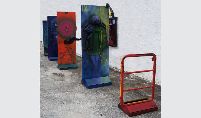 3x2.2x13m – 2015 - Automotive Paint on FiberGlass and mixed media on wood, glass and iron